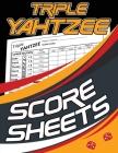 Triple Yahtzee Score Sheets: 100 Triple Yahtzee Score Pads, Triple Yahtzee Game, Triple Yatzee Score Pads, Yahtzee Deluxe Edition Cover Image
