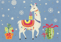 Festive Llama Small Boxed Holiday Cards Cover Image