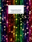Composition Book Gold Star Covered Rainbow Wide Ruled Cover Image