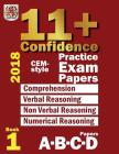 11+ Confidence: CEM-style Practice Exam Papers Book 1: Comprehension, Verbal Reasoning, Non-verbal Reasoning, Numerical Reasoning, and Cover Image