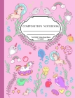Wide Rule Composition Notebook: Cute composition notebook for girls, lovely pink colour glossy cover with narwhal and unicorn sprinkles design, wide r Cover Image