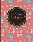 8 Column Ledger: Columnar Pad, Accounting Ledger Pad, Financial Ledger Book, Cute Navy Cover, 8.5