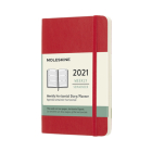 Moleskine 2021 Weekly Horizontal Planner, 12M, Pocket, Scarlet Red, Soft Cover (3.5 x 5.5) Cover Image
