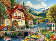 House by the Pond 1000-Piece Puzzle Cover Image