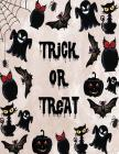 Trick or treat: Trick or treat on brown cover and Dot Graph Line Sketch pages, Extra large (8.5 x 11) inches, 110 pages, White paper, Cover Image
