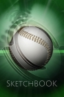 Green Background Baseball Sketchbook: Sketchpad: 6 x 9 in, 120 pages with border. Drawing Pad for work, school, college (kids, girls, boys, children) Cover Image