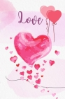 Love: Lined Paper Book with colored illustrations on each page - coloread hearts Blush Notes Paper for writing in with color Cover Image