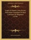 Copia De Huma Carta Escrita Pelo Padre Guardiam De Real Convento De Maquines (1756) Cover Image