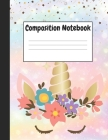 Composition Notebook: Cute Blue Unicorn Themes Style, 8.5