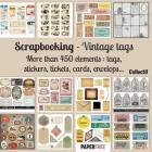 Scrapbooking kit vintage tags - 20,5 x 20,5 cm - 8,5 x 8,5 inch Cover Image