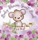 It's a Boy! Baby Shower Guest Book: Cute Teddy Bear Baby Boy, Ribbon and Flowers with Letters Watercolor Purple Theme hardback Cover Image