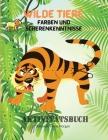 Wilde Tiere Färben und Scherenkenntnisse Aktivitätsbuch: Meine erste awesome Dschungel Tiere Färbung und Aktivität Buch für Kinder im Alter von 5-12 E Cover Image