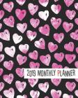 2019 Planner: Pink Heart Yearly Monthly Weekly 12 Months 365 Days Cute Planner, Calendar Schedule, Appointment, Agenda, Meeting Cover Image