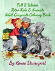 Fall & Winter Retro Kids & Animals Adult Grayscale Coloring Book: Retro Fun Cover Image