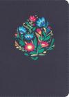 NVI Biblia Compacta Letra Grande, azul bordado sobre tela Cover Image