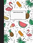 Pink Flamingo with pineapple in summer them - Graph Paper Notebook: Ice Cream and Leaf in cover Composition Notebook,8.15 x 11 Inch,110 page Cover Image