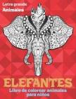Libro de colorear animales para niños - Letra grande - Animales - Elefantes Cover Image