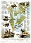 National Geographic: Dinosaurs of North America Wall Map (22.25 X 30.5 Inches) (National Geographic Reference Map) Cover Image