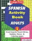 SPANISH Activity Book for ADULTS; 1 Cover Image
