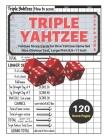 Triple yahtzee score pads: V.2 Yahtzee Score Cards for Dice Yahtzee Game Set Nice Obvious Text, Large Print 8.5*11 inch, 120 Score pages Cover Image