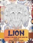 Livres à colorier pour adultes - Détente Animal et Fleurs - Animaux - Lion Cover Image