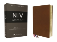 Niv, Thinline Bible, Large Print, Premium Goatskin Leather, Brown, Premier Collection, Art Gilded Edges, Comfort Print Cover Image