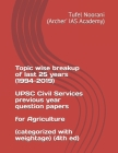Topic wise breakup of last 25 years (1994-2019) UPSC Civil Services previous year question papers for Agriculture (categorized with weightage) (4th ed Cover Image