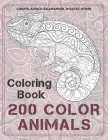 200 Color Animals - Coloring Book - Giraffe, Alpaca, Salamander, Wild cat, other Cover Image
