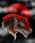 Born Under A Bad Moon: Red Wolf Blood Moon College Rule Composition Notebook Cover Image