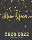2020-2022 Three Year Planner New Year: Glittery Golden And Black, Monthly Schedule Organizer, Large 3 Year Agenda Planner With Inspirational Quotes Cover Image