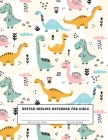 Dotted Midline Notebook For Girls: Picture Space And Dashed Midline For Grades K-2 School Dinosaur cover Cover Image