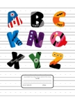 Handwriting Practice Paper With Lines: K-4 Grades School Writing Exercise Book - 120 Handwriting Practice Sheets - Super Heroes ABC Cover Cover Image