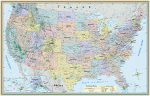 U.S. Map Poster (32 X 50 Inches) - Laminated: - A Quickstudy Reference Cover Image