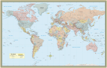 World Map Poster (32 X 50 Inches) - Laminated: - A Quickstudy Reference Cover Image