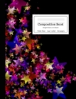 Composition Book Bright Stars on Black: Vibrant Rainbow Colorful Stars Blue Purple Red Pink Yellow on Black Background Wide Rule Notebook for Kids, Te Cover Image