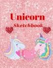 Unicorn Sketchbook: Cute Unicorn On Pink Glitter Effect Background Cover Image