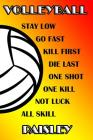 Volleyball Stay Low Go Fast Kill First Die Last One Shot One Kill Not Luck All Skill Paisley: College Ruled Composition Book Cover Image