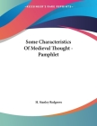 Some Characteristics Of Medieval Thought - Pamphlet Cover Image