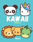 KAWAII Malbuch Tiere: Malbuch für Kinder von 2 bis 5 Jahren. Geschenk für Weihnachten Geburtstagsgeschenk. 18 Farbabbildungen von Tieren und Cover Image
