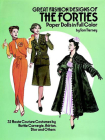Great Fashion Designs of the Forties Paper Dolls: 32 Haute Couture Costumes by Hattie Carnegie, Adrian, Dior and Others Cover Image