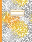 Composition Notebook: Floral Blossom Yellow Gray Flowers Composition Book For Students College Ruled Cover Image