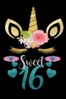 Sweet 16: Guest Book, Unicorns 16th Birthday Notebook Gifts Wide Ruled 6x9 100 noBleed Cover Image