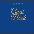 Wedding Guest Book: Blue and Gold Guest Book - Blank Unruled pages -Landscape Guest Book- Modern Paperback Guest Book- Cover Image