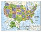 National Geographic: Kids Political USA Education: Grades 4-12 Wall Map - Laminated (51 X 40 Inches) Cover Image