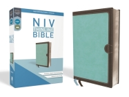 NIV, Thinline Bible, Imitation Leather, Blue/Brown, Red Letter Edition Cover Image