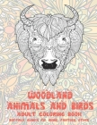 Woodland Animals and Birds - Adult Coloring Book - Buffalo, Guinea pig, Rhino, Panther, other Cover Image