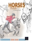 Realistic horses coloring book: adult coloring books animals Cover Image