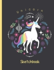 Unicorn Sketchbook: Large Plain Paper Sketchpad with Cute Unicorn Coloring Sheets. Great as Drawing Pad for Kids Easel with Blank Paper to Cover Image