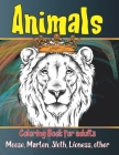 Animals - Coloring Book for adults - Moose, Marten, Sloth, Lioness, other Cover Image