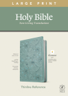 NLT Large Print Thinline Reference Bible, Filament Enabled Edition (Red Letter, Leatherlike, Floral/Teal) Cover Image
